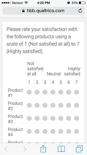 Likert Rating Scale with Horizontal Orientation
