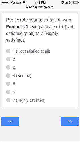 Likert Rating Scale with Vertical Orientation with Radio Buttons