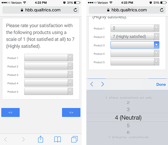 Modified Likert Scale with Dropdown Menus